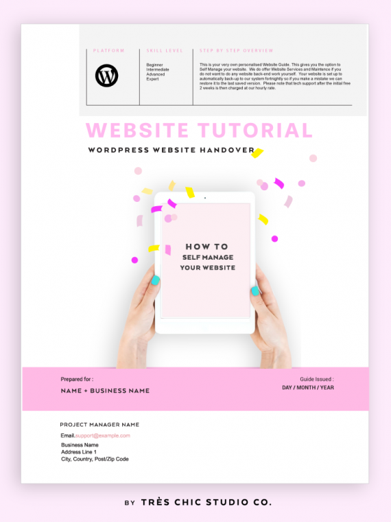 Wordpress Website Tutorial Guide Checklist by Tres Chic Studio Co. | Master PLR | Done For You Content
